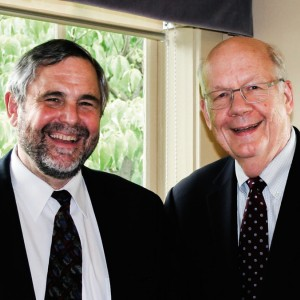 Lincoln Institute President, George W. McCarthy, on the left and President Emeritus, Gregory K. Ingram, on the right