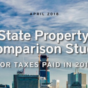 A skyline with the following words: 50 State Property Tax Comparison Study for Taxes Paid in 2017